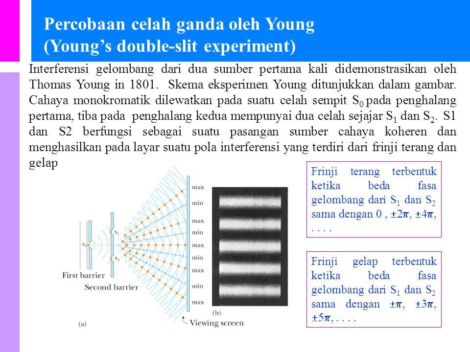 Kondisi untuk interferensi yang stabil Pengaruh interferensi dalam cahaya tidak teramati secara biasa. Ini karena gelombang cahaya dari suatu sumber c