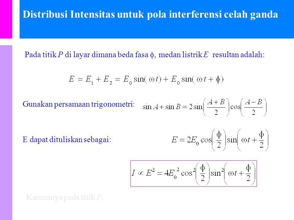 Distribusi Intensitas untuk pola interferensi celah ganda Pada titik P di layar dimana beda fasa , medan listrik E resultan adalah: Gunakan persamaan trigonometri: E dapat dituliskan sebagai: Karenanya pada titik P,