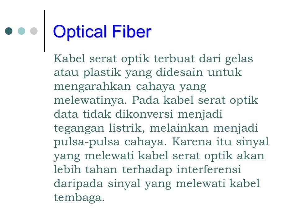 Optical Fiber Kabel serat optik terbuat dari gelas atau plastik yang didesain untuk mengarahkan cahaya yang melewatinya. Pada kabel serat optik data t