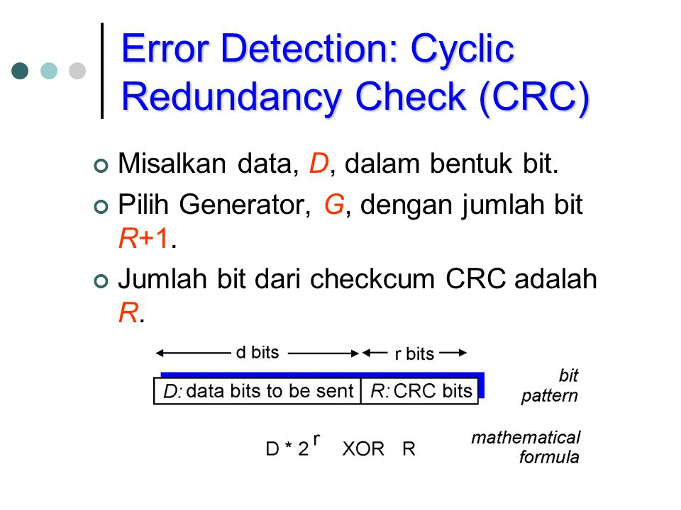Error Detection: Cyclic Redundancy Check (CRC) Misalkan data, D, dalam bentuk bit.