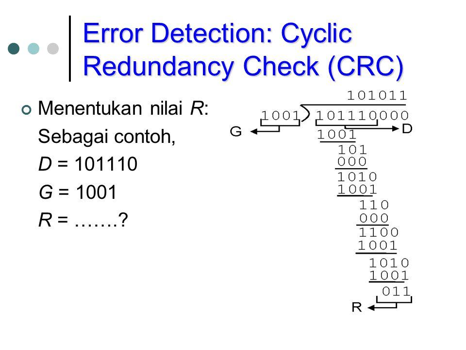 Error Detection: Cyclic Redundancy Check (CRC) Menentukan nilai R: Sebagai contoh, D = 101110 G = 1001 R = …….?