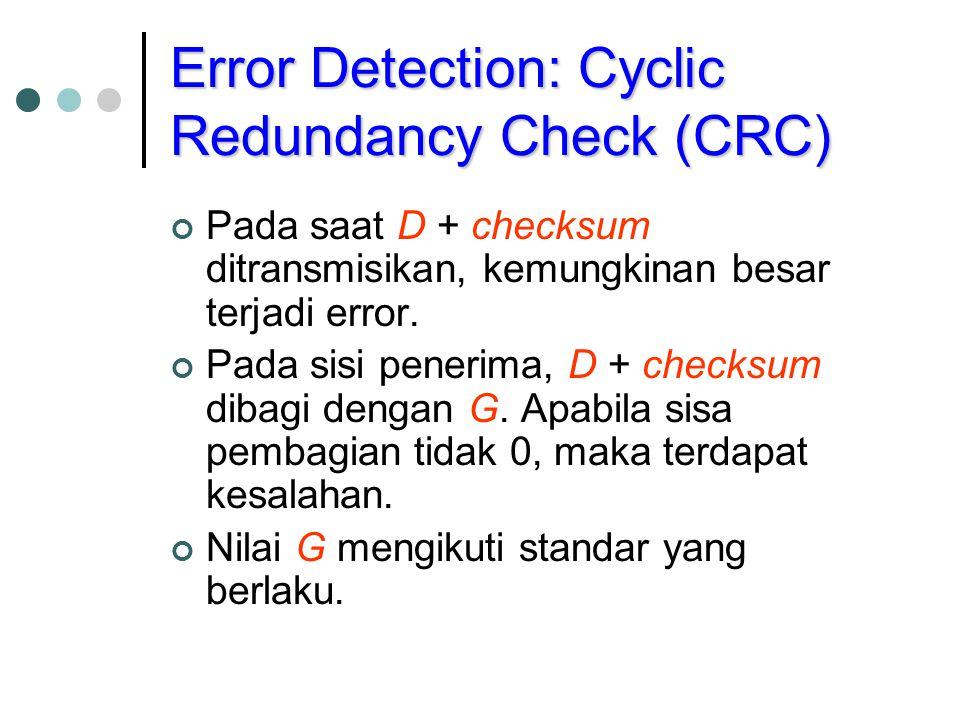 Error Detection: Cyclic Redundancy Check (CRC) Pada saat D + checksum ditransmisikan, kemungkinan besar terjadi error. Pada sisi penerima, D + checksu