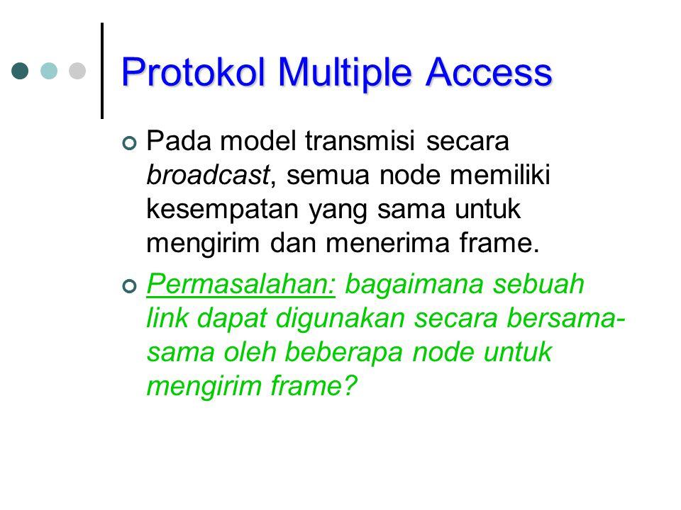 Protokol Multiple Access Pada model transmisi secara broadcast, semua node memiliki kesempatan yang sama untuk mengirim dan menerima frame. Permasalah