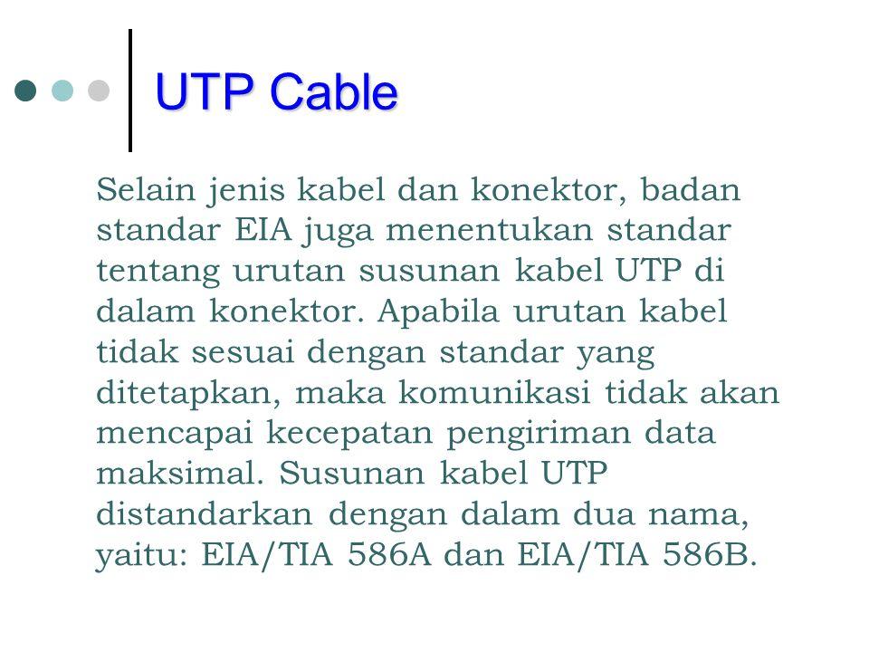Selain jenis kabel dan konektor, badan standar EIA juga menentukan standar tentang urutan susunan kabel UTP di dalam konektor. Apabila urutan kabel ti