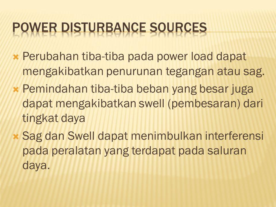  Perubahan tiba-tiba pada power load dapat mengakibatkan penurunan tegangan atau sag.  Pemindahan tiba-tiba beban yang besar juga dapat mengakibatka