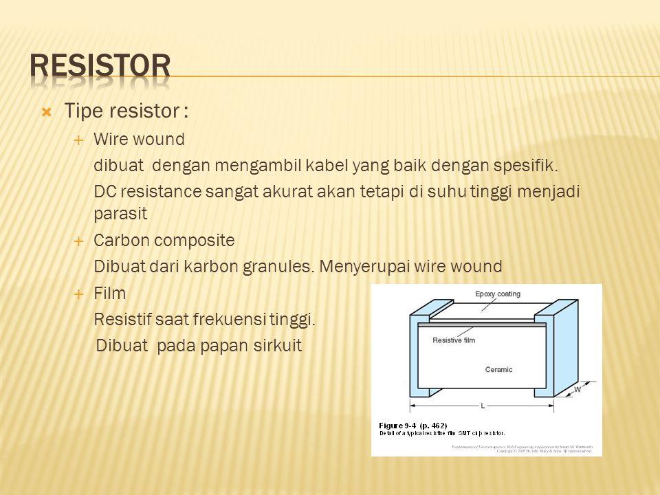  Tipe resistor :  Wire wound dibuat dengan mengambil kabel yang baik dengan spesifik. DC resistance sangat akurat akan tetapi di suhu tinggi menjadi