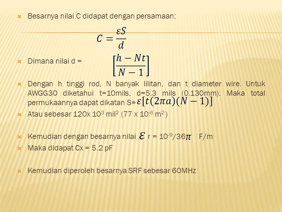  Besarnya nilai C didapat dengan persamaan:  Dimana nilai d =  Dengan h tinggi rod, N banyak lilitan, dan t diameter wire. Untuk AWGG30 diketahui t