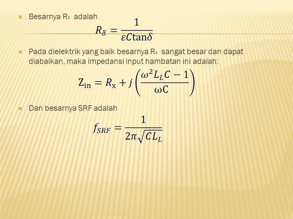  Besarnya R adalah  Pada dielektrik yang baik besarnya R sangat besar dan dapat diabaikan, maka impedansi input hambatan ini adalah:  Dan besarnya SRF adalah