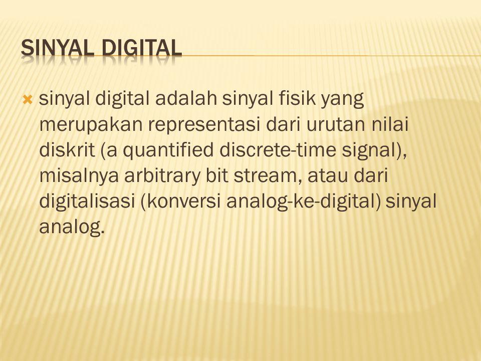  sinyal digital adalah sinyal fisik yang merupakan representasi dari urutan nilai diskrit (a quantified discrete-time signal), misalnya arbitrary bit stream, atau dari digitalisasi (konversi analog-ke-digital) sinyal analog.