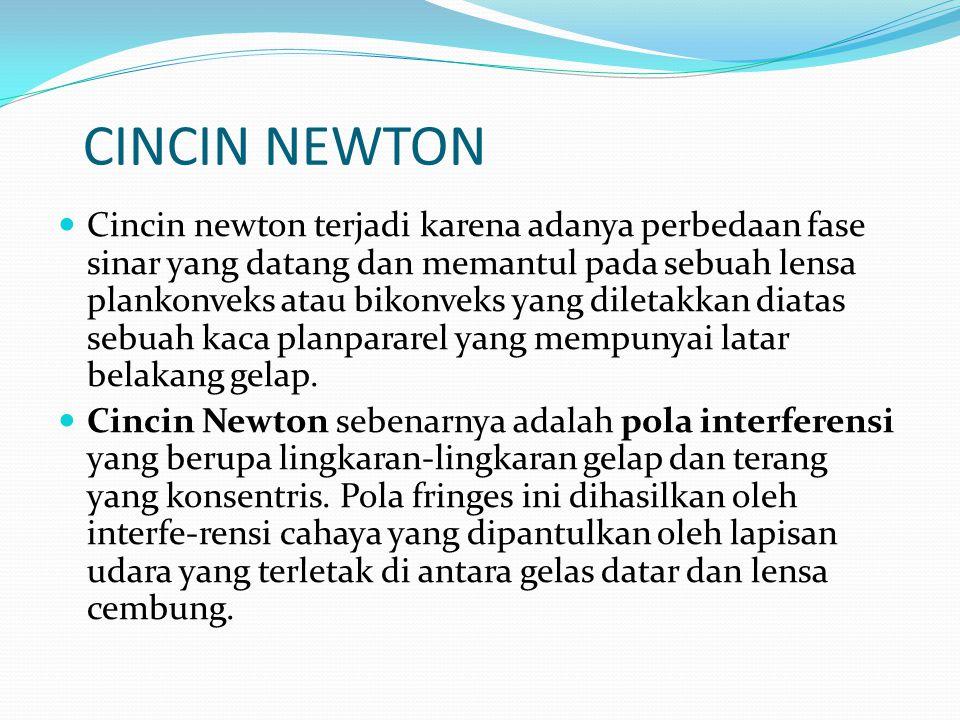 CINCIN NEWTON Cincin newton terjadi karena adanya perbedaan fase sinar yang datang dan memantul pada sebuah lensa plankonveks atau bikonveks yang diletakkan diatas sebuah kaca planpararel yang mempunyai latar belakang gelap.