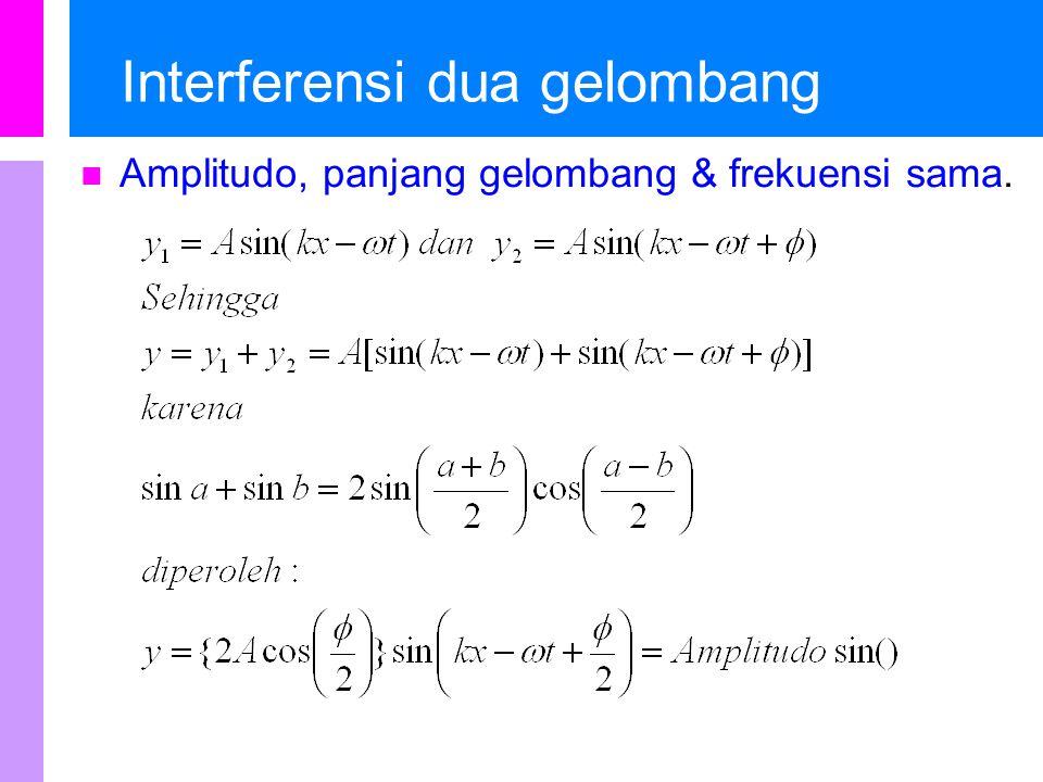 Interferensi dua gelombang … Aplitudo bergantung pada beda fasa,  Jika  = 0 dan amplitudo = 2A, disebut interferensi konstruktif Jika  =  maka amplitudo = 2A, dan kedua gelombang saling menghilangkan.
