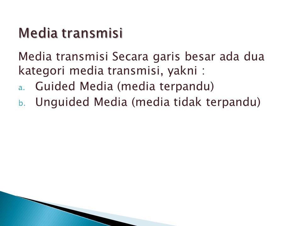  Media transmisi yang terpandu maksudnya adalah media yang mampu mentransmisikan besaran-besaran fisik lewat materialnya.
