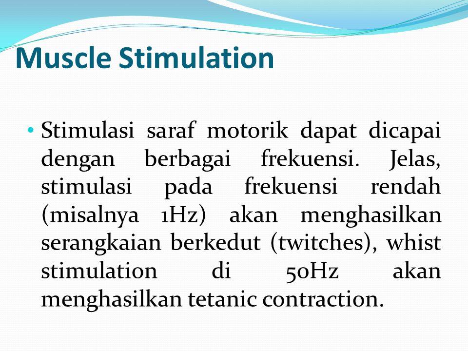 Muscle Stimulation Stimulasi saraf motorik dapat dicapai dengan berbagai frekuensi. Jelas, stimulasi pada frekuensi rendah (misalnya 1Hz) akan menghas