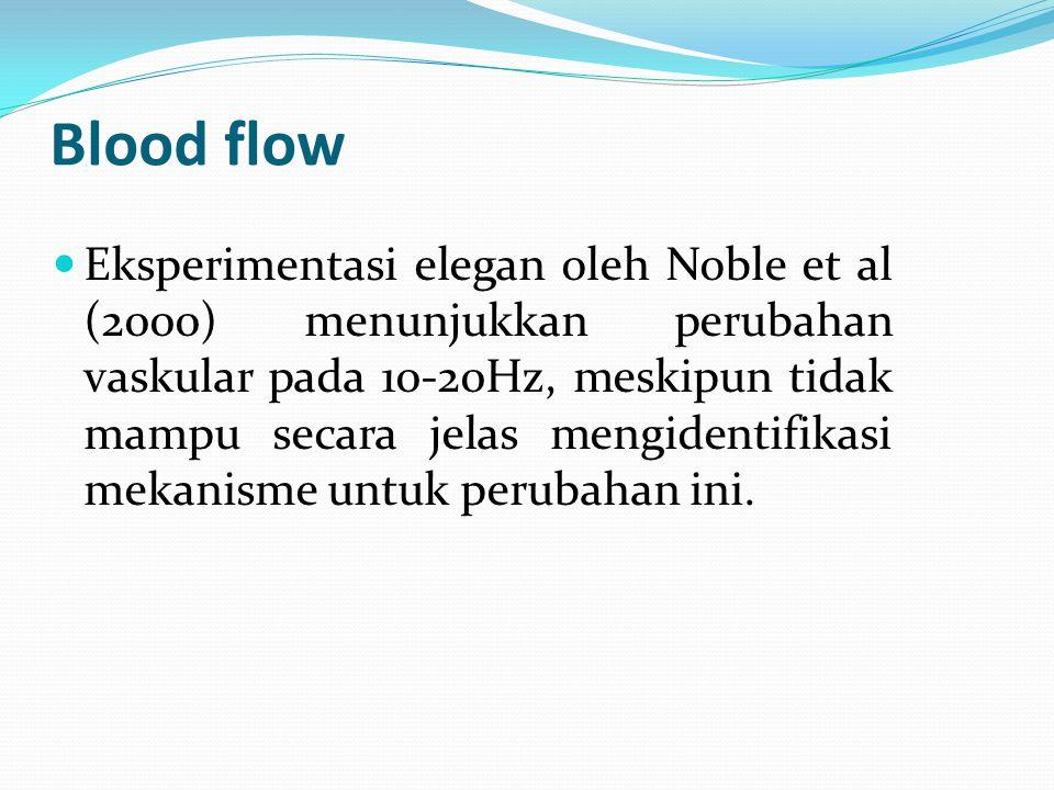 Blood flow Eksperimentasi elegan oleh Noble et al (2000) menunjukkan perubahan vaskular pada 10-20Hz, meskipun tidak mampu secara jelas mengidentifika