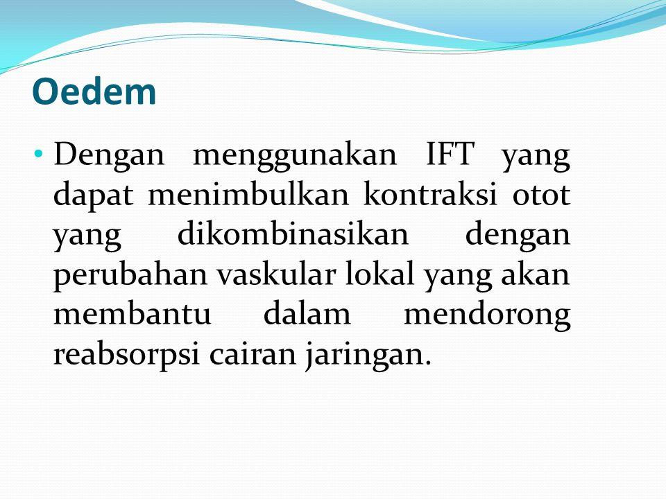 Oedem Dengan menggunakan IFT yang dapat menimbulkan kontraksi otot yang dikombinasikan dengan perubahan vaskular lokal yang akan membantu dalam mendor