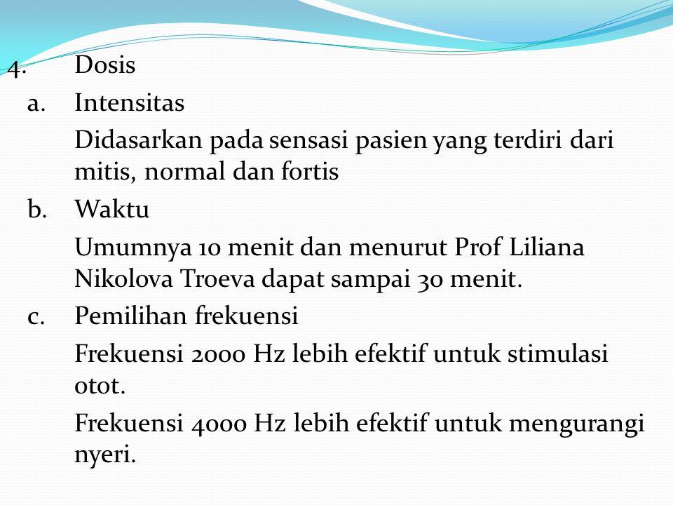 4.Dosis a. Intensitas Didasarkan pada sensasi pasien yang terdiri dari mitis, normal dan fortis b.Waktu Umumnya 10 menit dan menurut Prof Liliana Niko