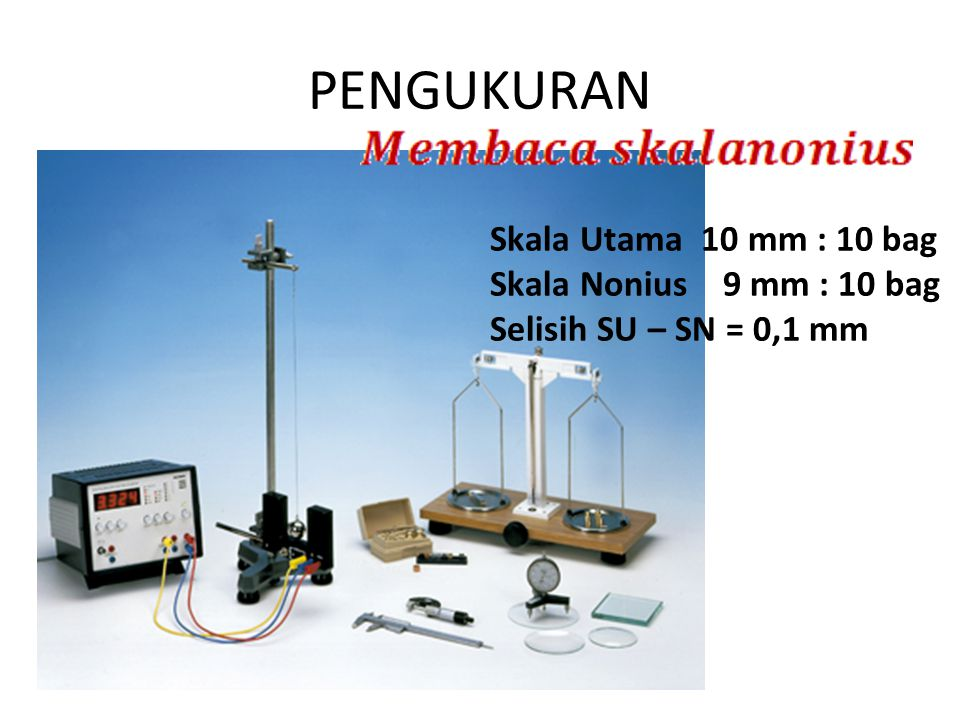 PENGUKURAN Skala Utama 10 mm : 10 bag Skala Nonius 9 mm : 10 bag Selisih SU – SN = 0,1 mm