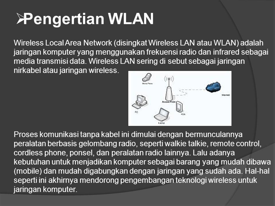  Pengertian WLAN Wireless Local Area Network (disingkat Wireless LAN atau WLAN) adalah jaringan komputer yang menggunakan frekuensi radio dan infrare