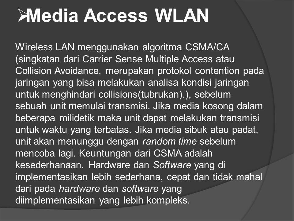  Media Access WLAN Wireless LAN menggunakan algoritma CSMA/CA (singkatan dari Carrier Sense Multiple Access atau Collision Avoidance, merupakan proto