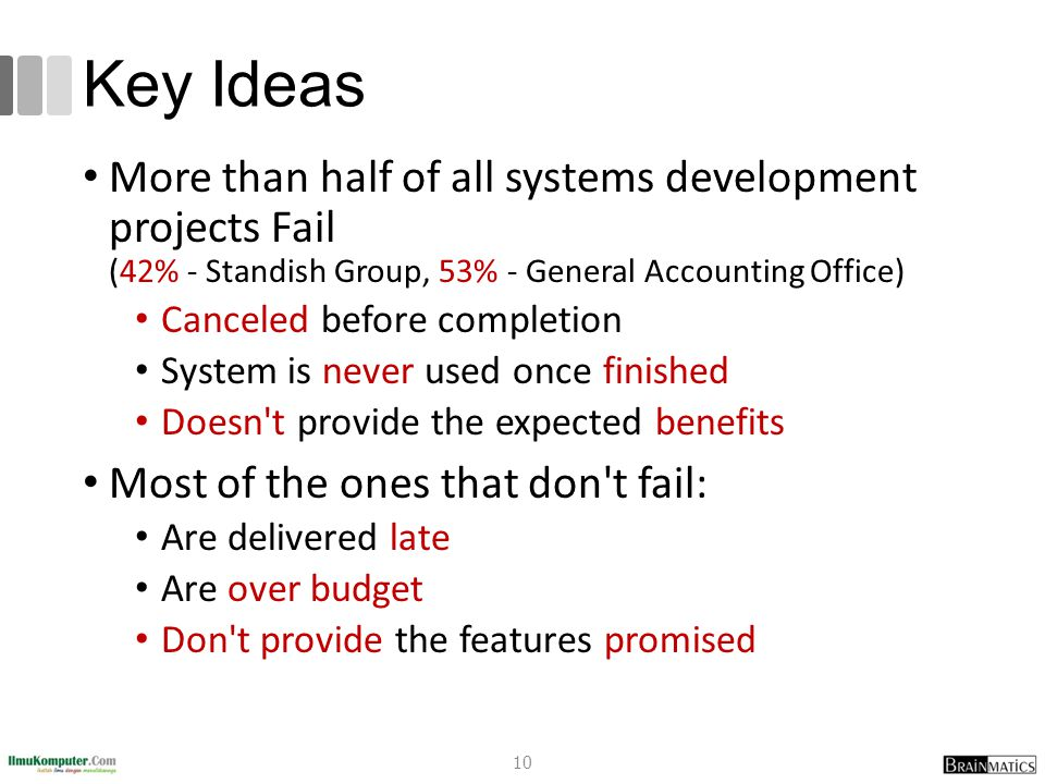 Key Ideas More than half of all systems development projects Fail (42% - Standish Group, 53% - General Accounting Office) Canceled before completion S