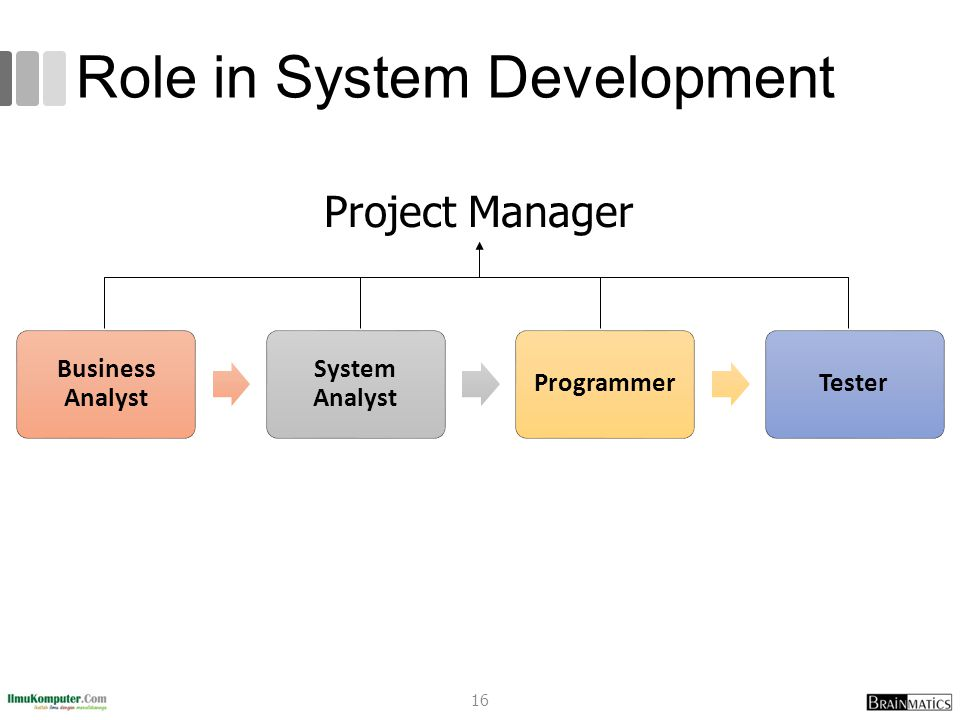 Role in System Development Business Analyst System Analyst ProgrammerTester Project Manager 16