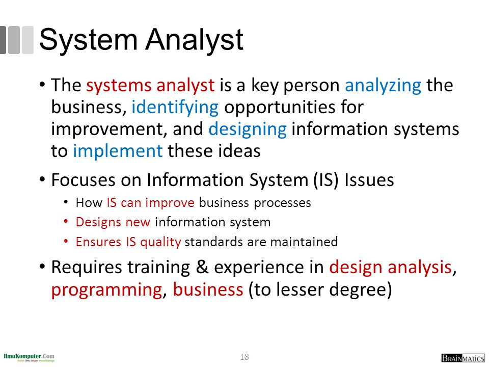 System Analyst The systems analyst is a key person analyzing the business, identifying opportunities for improvement, and designing information system