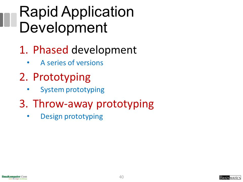 Rapid Application Development 1.Phased development A series of versions 2.Prototyping System prototyping 3.Throw-away prototyping Design prototyping 4