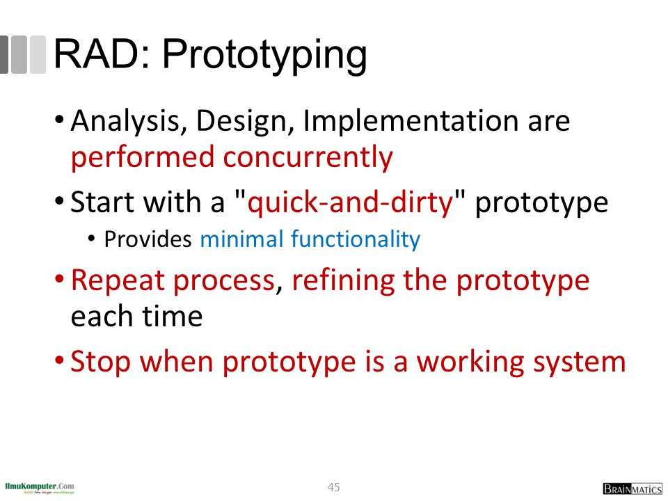 RAD: Prototyping Analysis, Design, Implementation are performed concurrently Start with a
