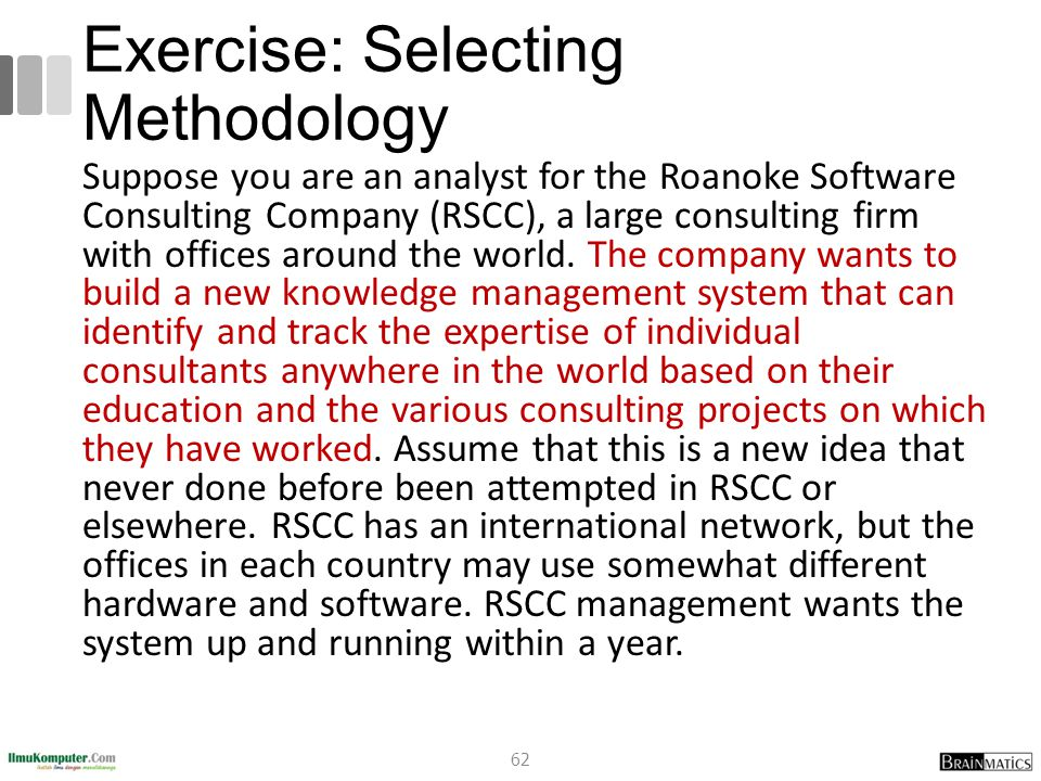 Exercise: Selecting Methodology Suppose you are an analyst for the Roanoke Software Consulting Company (RSCC), a large consulting firm with offices around the world.