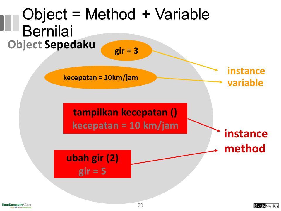 Object = Method + Variable Bernilai instance variable kecepatan = 10km/jam gir = 3 tampilkan kecepatan () kecepatan = 10 km/jam ubah gir (2) gir = 5 instance method Object Sepedaku 70