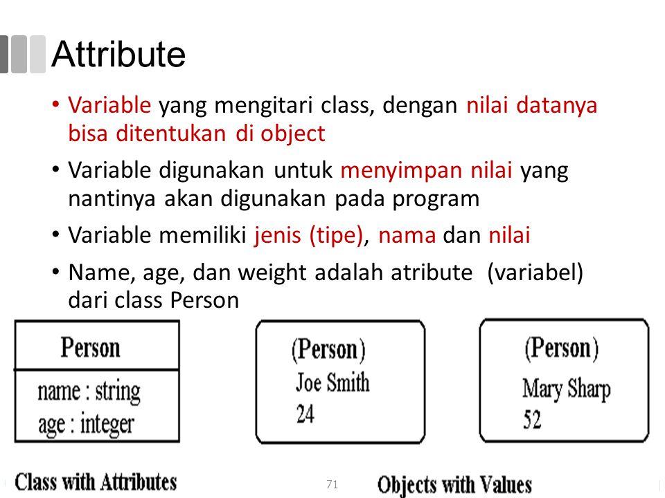 Attribute Variable yang mengitari class, dengan nilai datanya bisa ditentukan di object Variable digunakan untuk menyimpan nilai yang nantinya akan digunakan pada program Variable memiliki jenis (tipe), nama dan nilai Name, age, dan weight adalah atribute (variabel) dari class Person 71