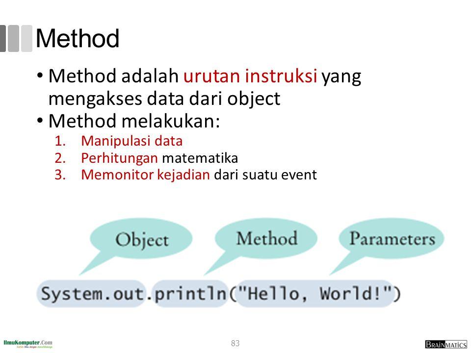 Method Method adalah urutan instruksi yang mengakses data dari object Method melakukan: 1.Manipulasi data 2.Perhitungan matematika 3.Memonitor kejadian dari suatu event 83