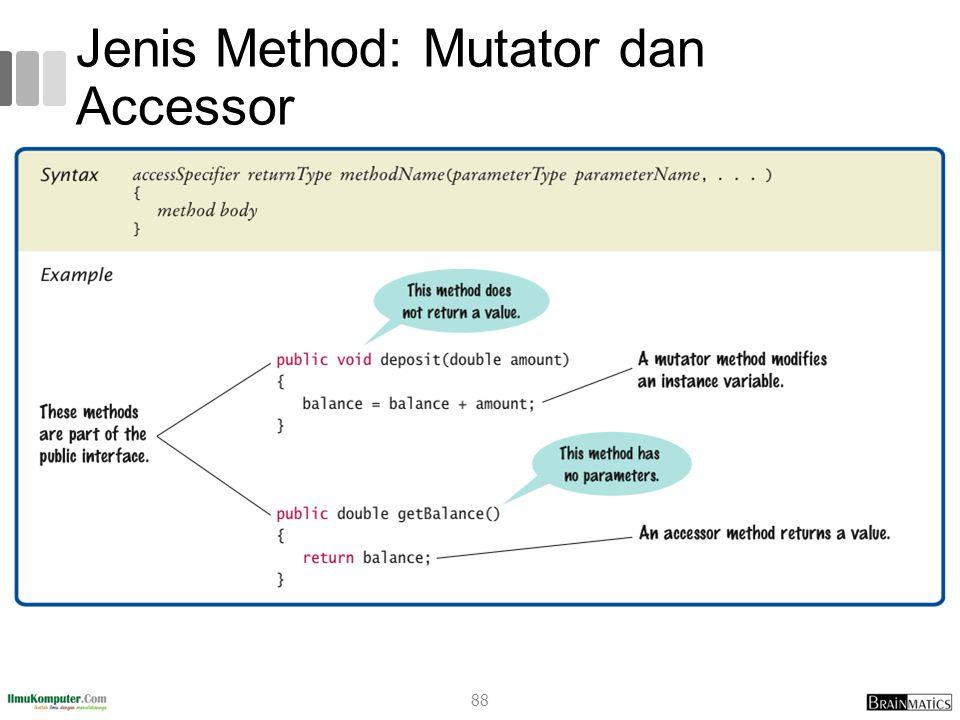 Jenis Method: Mutator dan Accessor 88