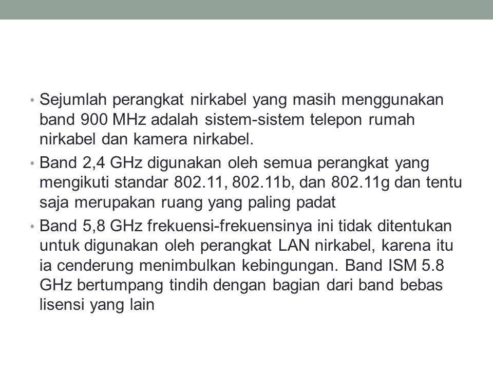 Sejumlah perangkat nirkabel yang masih menggunakan band 900 MHz adalah sistem-sistem telepon rumah nirkabel dan kamera nirkabel. Band 2,4 GHz digunaka