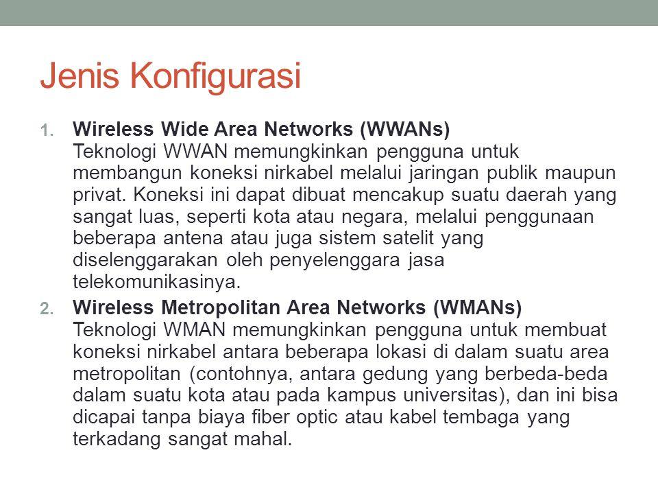 Jenis Konfigurasi 1. Wireless Wide Area Networks (WWANs) Teknologi WWAN memungkinkan pengguna untuk membangun koneksi nirkabel melalui jaringan publik