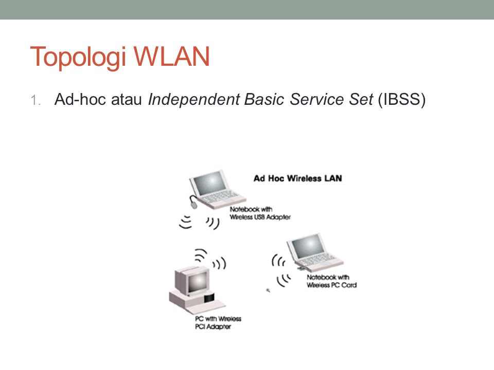 Topologi WLAN 1. Ad-hoc atau Independent Basic Service Set (IBSS)