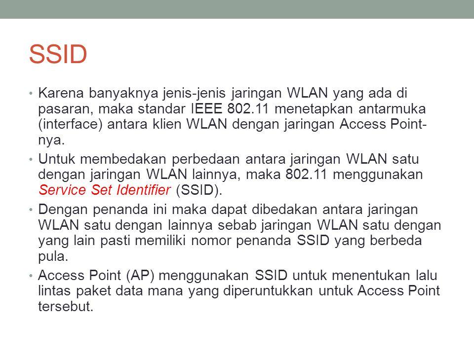 SSID Karena banyaknya jenis-jenis jaringan WLAN yang ada di pasaran, maka standar IEEE 802.11 menetapkan antarmuka (interface) antara klien WLAN denga