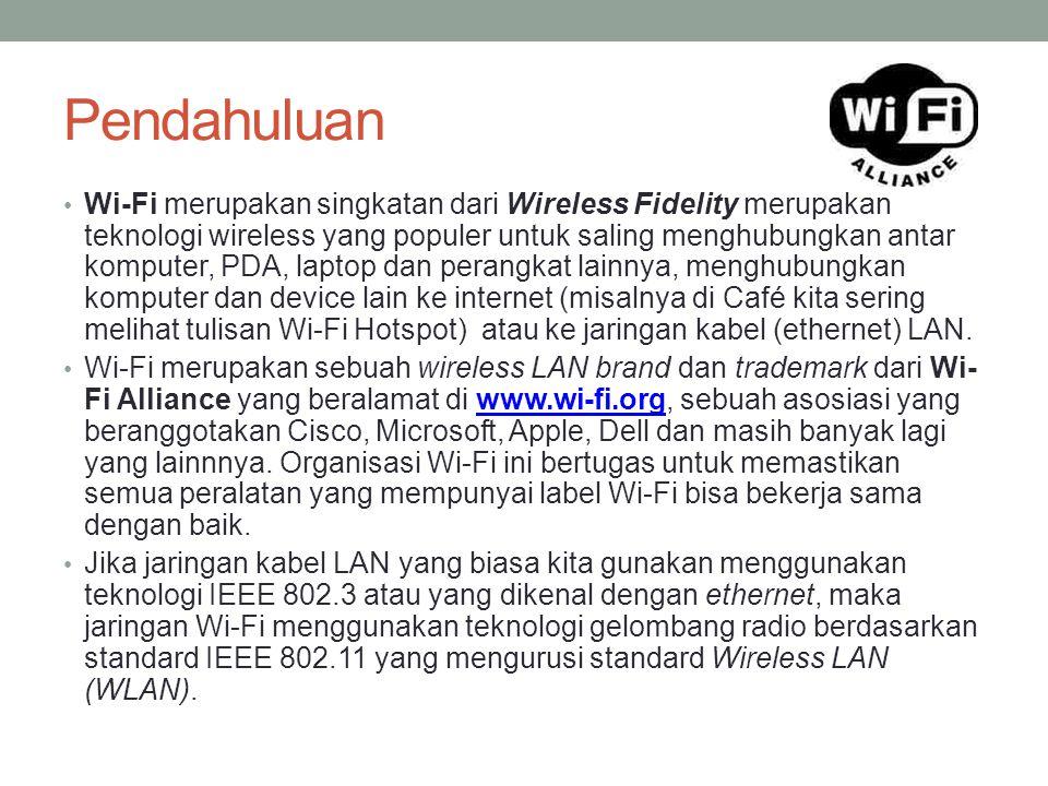 Pendahuluan Wi-Fi merupakan singkatan dari Wireless Fidelity merupakan teknologi wireless yang populer untuk saling menghubungkan antar komputer, PDA,