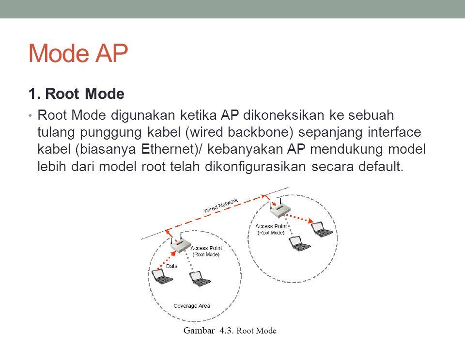 Mode AP 1. Root Mode Root Mode digunakan ketika AP dikoneksikan ke sebuah tulang punggung kabel (wired backbone) sepanjang interface kabel (biasanya E