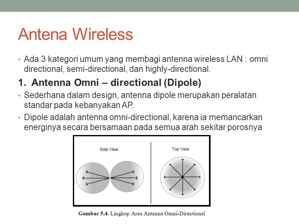 Antena Wireless Ada 3 kategori umum yang membagi antenna wireless LAN : omni directional, semi-directional, dan highly-directional. 1. Antenna Omni –