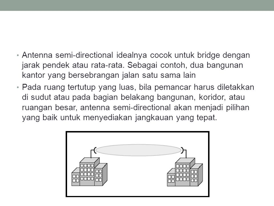 Antenna semi-directional idealnya cocok untuk bridge dengan jarak pendek atau rata-rata. Sebagai contoh, dua bangunan kantor yang bersebrangan jalan s