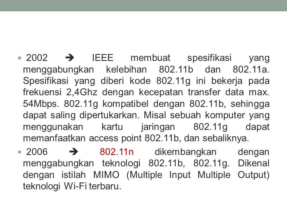 2002  IEEE membuat spesifikasi yang menggabungkan kelebihan 802.11b dan 802.11a. Spesifikasi yang diberi kode 802.11g ini bekerja pada frekuensi 2,4G