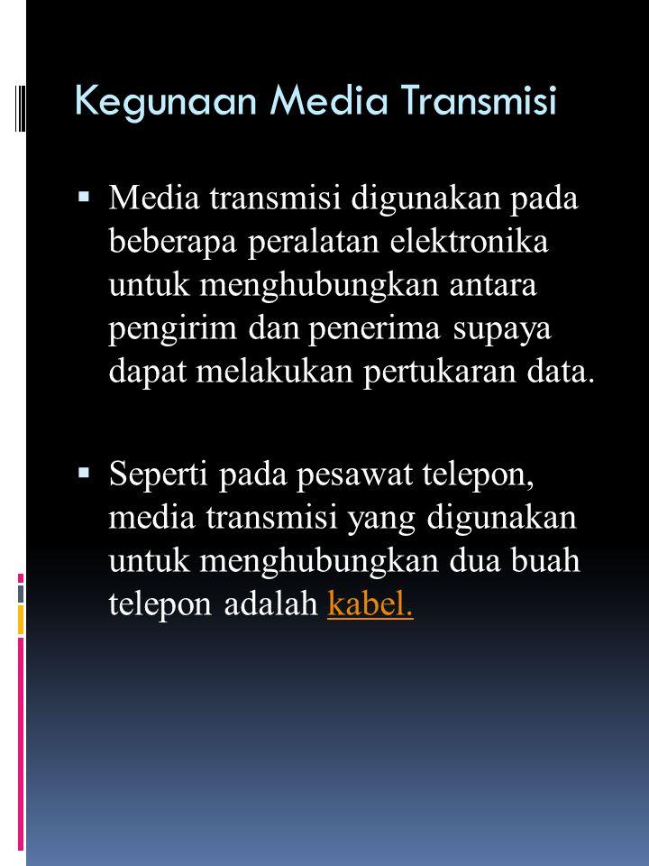 Jenis Media Transmisi  Media Transmisi wire (guided)  žMedia Transmisi wireless (unguided)