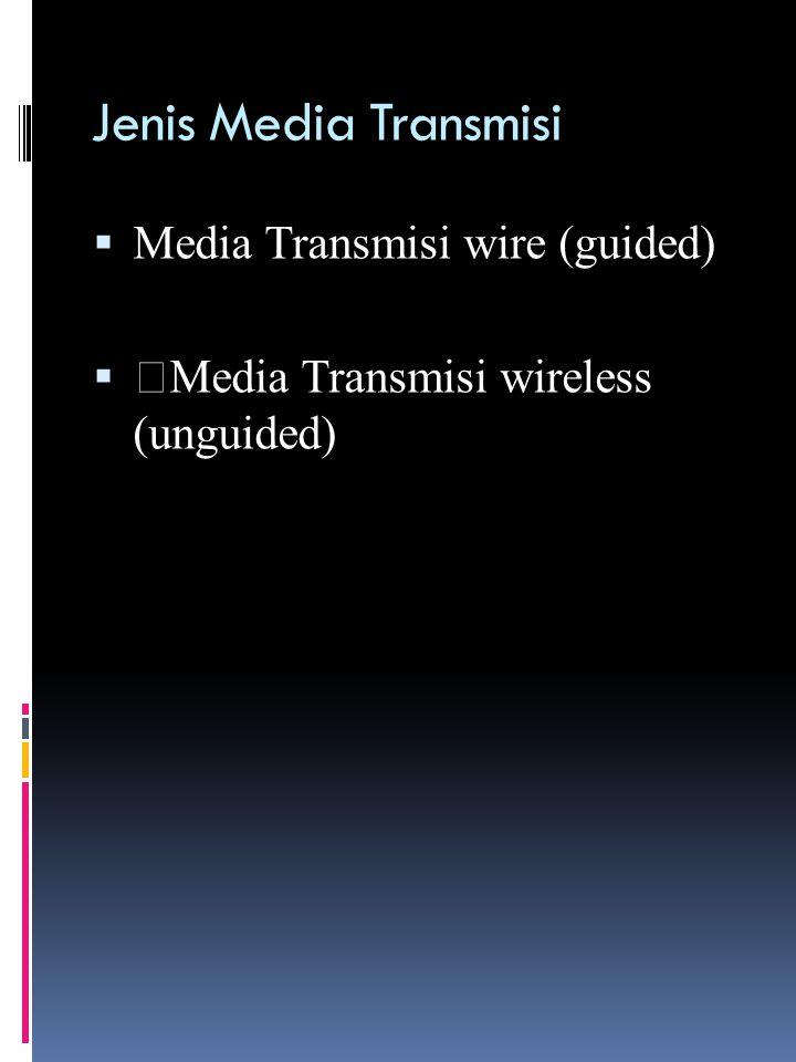 Jenis Media Transmisi Wire (Kabel) 1. KABEL KOAKSIAL 2. TWISTED PAIR 3. FIBER OPTIK
