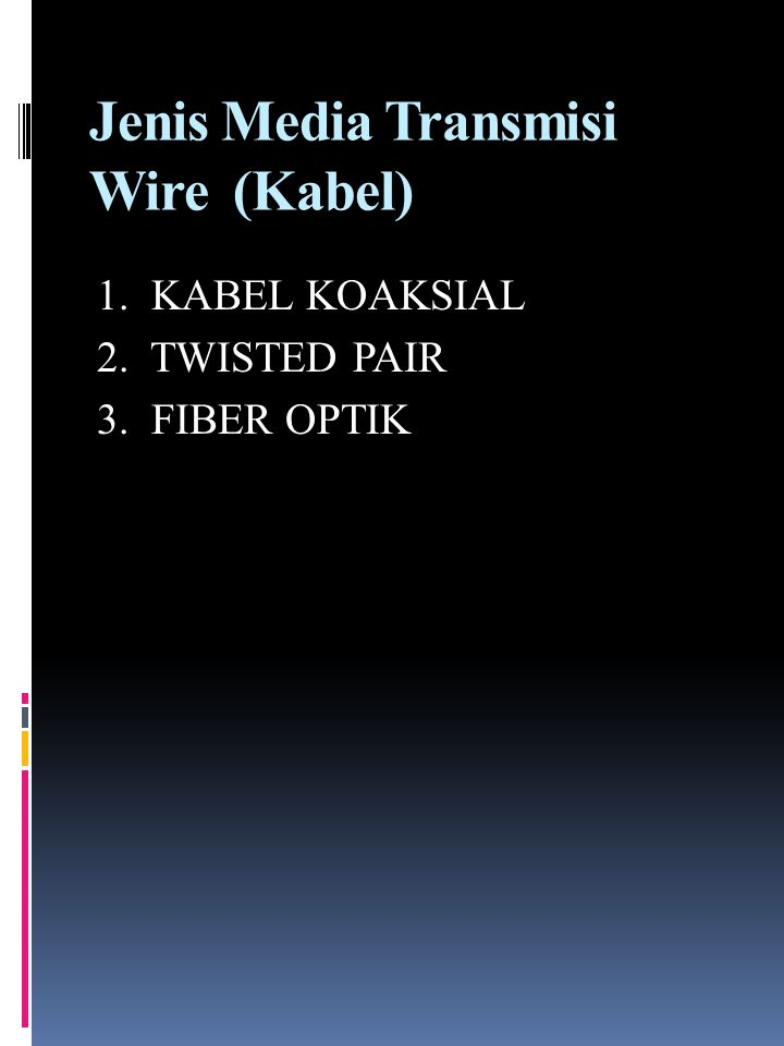Jenis Media Transmisi Wire (Kabel) 1. KABEL KOAKSIAL 2. TWISTED PAIR 3. FIBER OPTIK