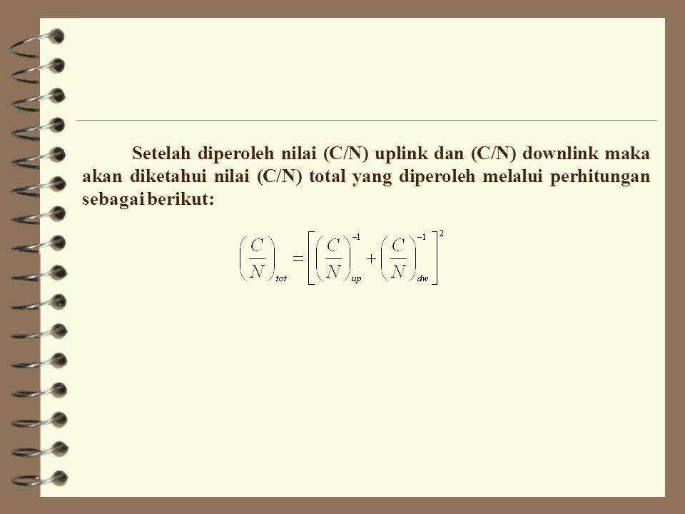 8.5 Hubungan Downlink Karena pada hubungan downlink frekuensi yang digunakan berbeda dengan frekuensi uplink, maka semua perhitungan pada hubungan downlink menggunakan frekuensi downlink.