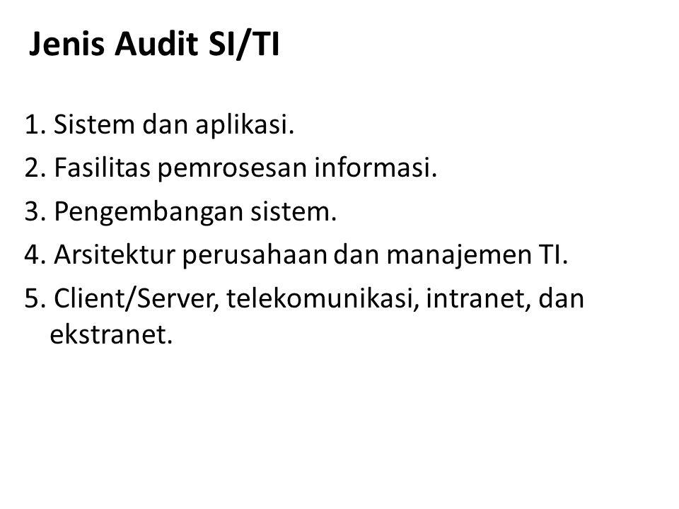 Jenis Audit SI/TI 1. Sistem dan aplikasi. 2. Fasilitas pemrosesan informasi. 3. Pengembangan sistem. 4. Arsitektur perusahaan dan manajemen TI. 5. Cli