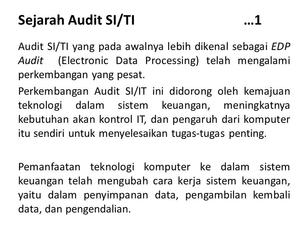 Sejarah Audit SI/TI …1 Audit SI/TI yang pada awalnya lebih dikenal sebagai EDP Audit (Electronic Data Processing) telah mengalami perkembangan yang pe