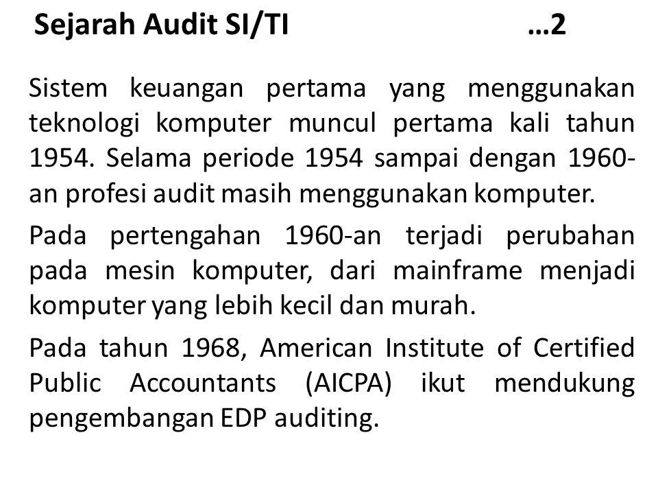 Sejarah Audit SI/TI …2 Sistem keuangan pertama yang menggunakan teknologi komputer muncul pertama kali tahun 1954. Selama periode 1954 sampai dengan 1