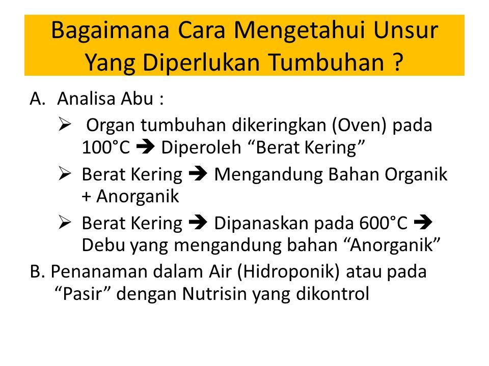 """Bagaimana Cara Mengetahui Unsur Yang Diperlukan Tumbuhan ? A.Analisa Abu :  Organ tumbuhan dikeringkan (Oven) pada 100°C  Diperoleh """"Berat Kering"""" """